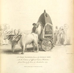 An Indian Hackeree, drawn by Guzerat Oxen, with the Costume of different Casts in Hindostan from a drawing by Baron de Montalembert, 1807